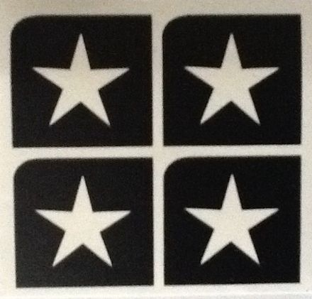 5 SHEETS OF 4 STENCILS - MINI STAR